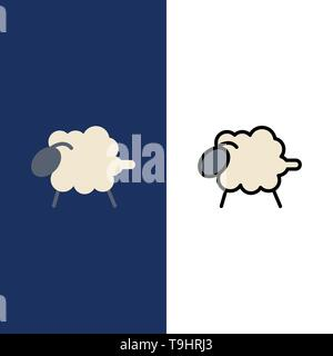 Lamb, Sheep, Wool, Easter  Icons. Flat and Line Filled Icon Set Vector Blue Background - Stock Photo