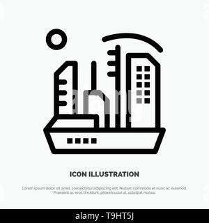 City, Colonization, Colony, Dome, Expansion Line Icon Vector - Stock Photo