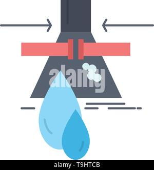 Chemical, Leak, Detection, Factory, pollution Flat Color Icon Vector - Stock Photo