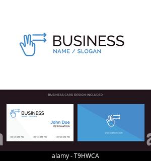 Fingers, Gesture, Right Blue Business logo and Business Card Template. Front and Back Design - Stock Photo