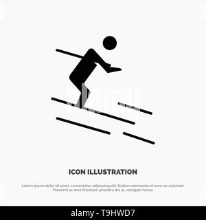 Activity, Ski, Skiing, Sportsman solid Glyph Icon vector - Stock Photo