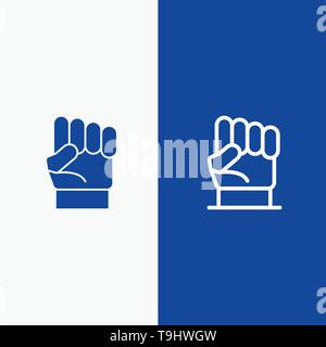 Freedom, Hand, Human, Power, Strength Line and Glyph Solid icon Blue banner Line and Glyph Solid icon Blue banner - Stock Photo