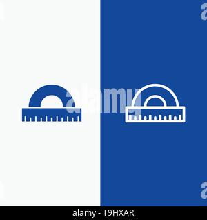 Design, Drawing, Education, Geometry Line and Glyph Solid icon Blue banner Line and Glyph Solid icon Blue banner - Stock Photo