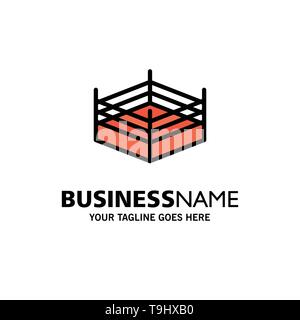 Boxing, Ring, Wrestling Business Logo Template. Flat Color - Stock Photo