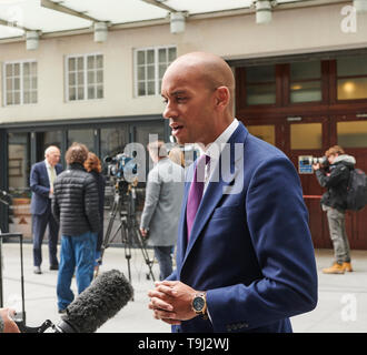 London, UK. 19th May 2019. Chuka Umunna, member of Change UK Party,  leaves the BBC,  Broadcasting House, after his appearance on the Andrew Marr Show. Credit: Thomas Bowles/Alamy Live News - Stock Photo