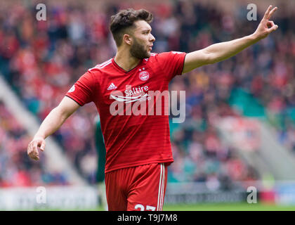 Edinburgh, Scotland, UK. 19th May 2019. Connor McLennan of Aberdeen  during the Ladbrokes Premiership match between Hibernian and Aberdeen at Easter Road on May 19 2019 in Edinbugh, UK. Editorial use only, licence required for commercial use. No use in Betting, games or a single club/league/player publication. Credit: Scottish Borders Media/Alamy Live News - Stock Photo