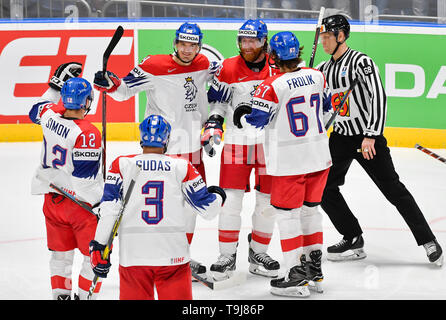 Bratislava, Slovakia. 19th May, 2019. Czech players celebrate goal in the match between Austria and Czech Republic within the 2019 IIHF World Championship in Bratislava, Slovakia, on May 19, 2019. Credit: Vit Simanek/CTK Photo/Alamy Live News - Stock Photo