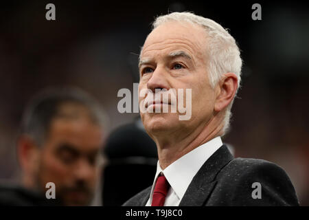 London, UK. 19th May 2019. Wimbledon Tennis Players Day; John McEnroe is interviewed Credit: Action Plus Sports Images/Alamy Live News - Stock Photo