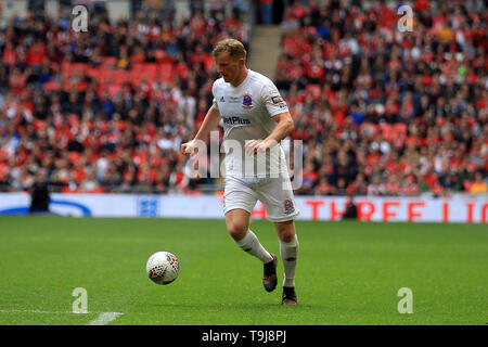 London, UK. 19th May, 2019. Ryan Croasdale of AFC Fylde in action. The FA trophy final, AFC Fylde v Leyton Orient at Wembley Stadium in London on Sunday 19th May 2019. this image may only be used for Editorial purposes. Editorial use only, license required for commercial use. No use in betting, games or a single club/league/player publications . pic by Steffan Bowen/Andrew Orchard sports photography/Alamy Live news Credit: Andrew Orchard sports photography/Alamy Live News - Stock Photo