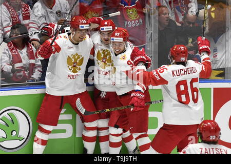 Bratislava, Slovakia. 19th May, 2019. Russian players celebrate goal in the match between Austria and Czech Republic within the 2019 IIHF World Championship in Bratislava, Slovakia, on May 19, 2019. Credit: Vit Simanek/CTK Photo/Alamy Live News - Stock Photo