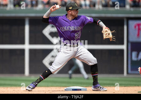 Philadelphia, Pennsylvania, USA. 19th May, 2019. Colorado Rockies shortstop Trevor Story (27) in action during the MLB game between the Colorado Rockies and Philadelphia Phillies at Citizens Bank Park in Philadelphia, Pennsylvania. Christopher Szagola/CSM/Alamy Live News - Stock Photo
