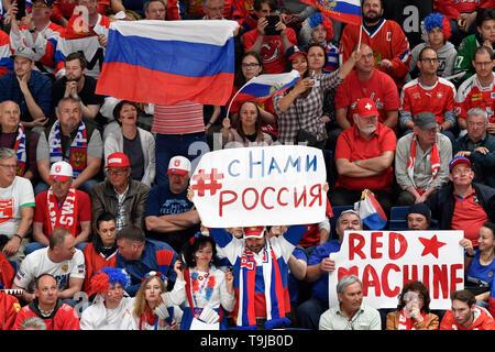 Bratislava, Slovakia. 19th May, 2019. Russian fans during the match between Switzerland and Russia within the 2019 IIHF World Championship in Bratislava, Slovakia, on May 19, 2019. Credit: Vit Simanek/CTK Photo/Alamy Live News - Stock Photo