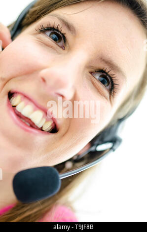 Portrait of happy secretary. Isolated over white background. - Stock Photo