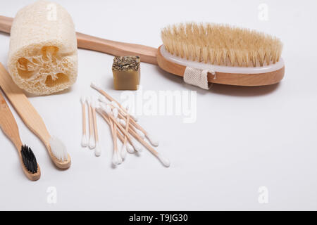 Bathroom accessories from natural materials close-up. Zero waste concept - Stock Photo