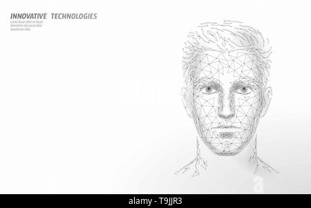 Low poly male human face biometric identification. Recognition system concept. Personal data secure access scanning innovation technology. 3D - Stock Photo