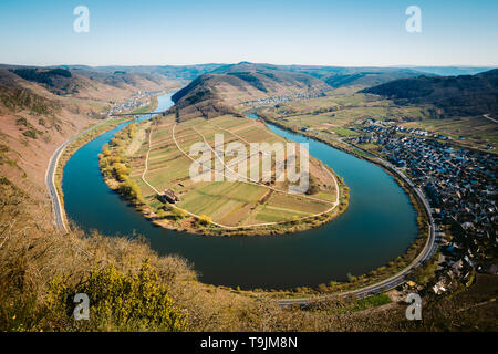 Panoramic view of ship on famous Moselle river at Moselschleife with the historic town of Bremm on a beautiful sunny day with blue sky in springtime - Stock Photo