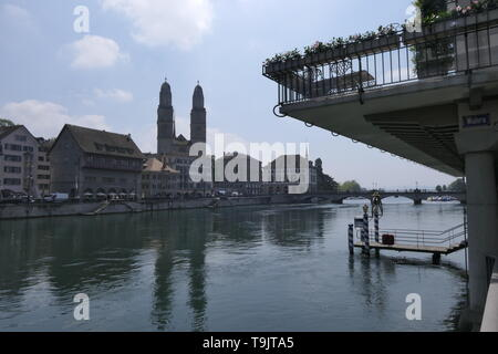 View from of the Wuehre street to the Grossmuenster church in Zurich, Switzerland - Stock Photo