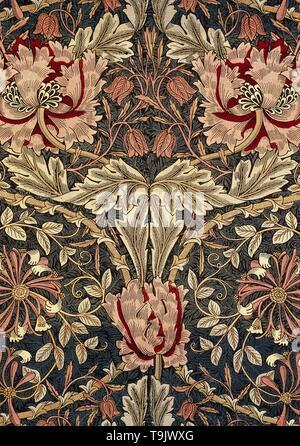 Decorative fabric. Museum: The William Morris Society. Author: Morris, William, Morris Tapestry Works. - Stock Photo