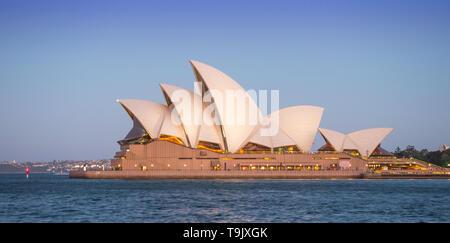 SYDNEY, AUSTRALIA - FEBRUARY 11, 2019: Evening at Sydney Opera House, Australia's most recognisable building. - Stock Photo
