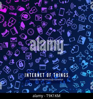 IOT concept. Internet of things color icons pattern. Vector illustration - Stock Photo