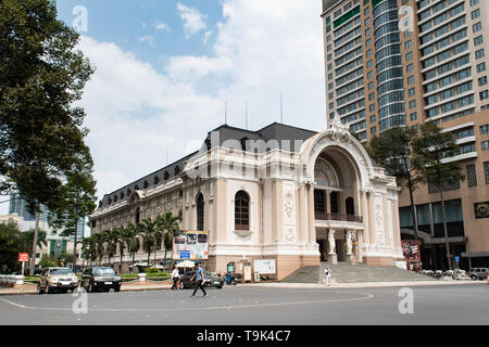Ho Chi Minh City, Vietnam - March 20th, 2019 - Saigon Opera House (Ho Chi Minh Municipal Theater) built in 1897 by French architect Eugène Ferret. - Stock Photo