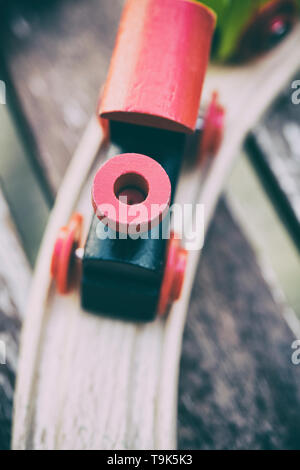 Detail of a child's wooden train set - Stock Photo