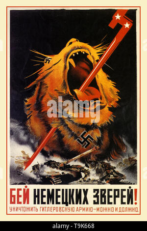 Vintage WW2 1940's Russian Soviet Propaganda Poster 'Fight German animals! We can and must destroy Hitler's army!' - 1943 Poster illustrates a wild tiger with a Nazi Germany Swastika and a Soviet Russian spear bayonet through its mouth and Nazi tank on fire World War II Second World War - Stock Photo
