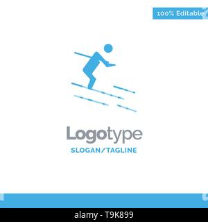 Activity, Ski, Skiing, Sportsman Blue Solid Logo Template. Place for Tagline - Stock Photo