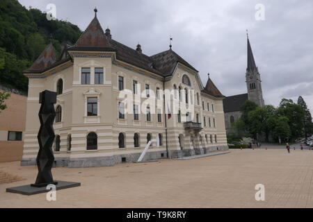 The Main Square of Vaduz with Parliament, Principality of Liechtenstein - Stock Photo