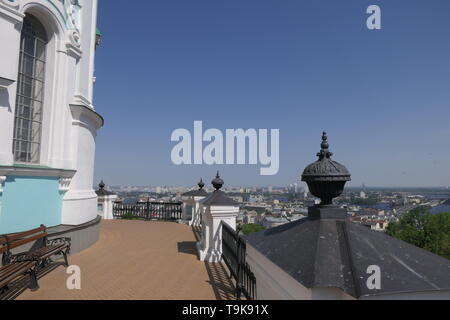 View from the St Andrew's Church to the City of Kiev, Ukraine - Stock Photo