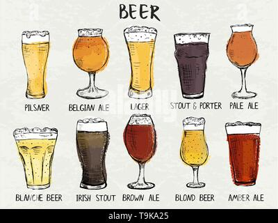 Hand drawn det of different types of glasses for beer - Stock Photo