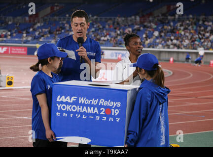 YOKOHAMA, JAPAN - MAY 10: Gail Devers draws for the winner during Day 1 of the 2019 IAAF World Relay Championships at the Nissan Stadium on Saturday May 11, 2019 in Yokohama, Japan. (Photo by Roger Sedres for the IAAF) - Stock Photo