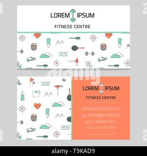 Gym of fitness centre business card template - Stock Photo