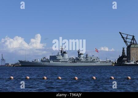 COPENHAGEN, DENMARK - AUGUST 26, 2018: View to the HDMS Peder Skram (F352) Ship