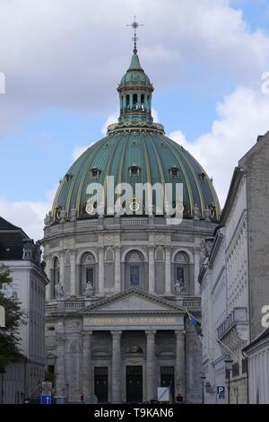 COPENHAGEN, DENMARK - AUGUST 26, 2018: Panoramic view to the Frederik's Church in Copenhagen
