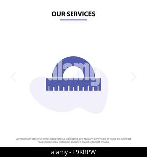 Our Services Design, Drawing, Education, Geometry Solid Glyph Icon Web card Template - Stock Photo