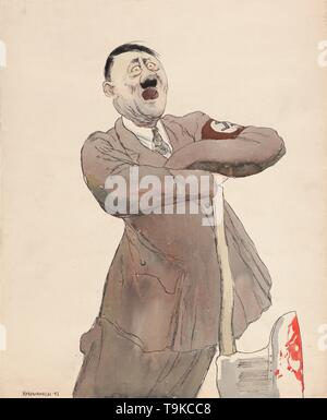 Adolf Hitler. Museum: PRIVATE COLLECTION. Author: Kukryniksy (Art Group). - Stock Photo