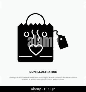 Handbag, Love, Heart, Wedding solid Glyph Icon vector - Stock Photo