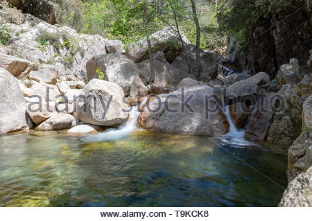 Trekking in Purcaraccia canyon in Corsica, France. - Stock Photo
