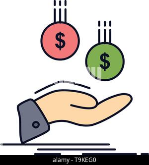 coins, hand, currency, payment, money Flat Color Icon Vector - Stock Photo