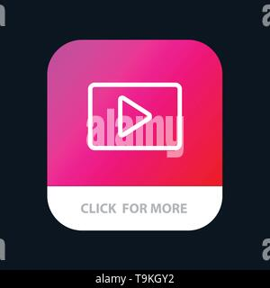 Video, Play, YouTube Mobile App Button  Android and IOS Line