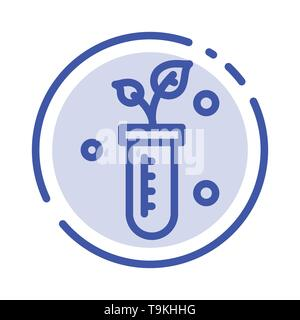 Tube, Plant, Lab, Science Blue Dotted Line Line Icon - Stock Photo
