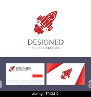 Creative Business Card and Logo template Startup, Business, Goal, Launch, Mission, Spaceship Vector Illustration - Stock Photo
