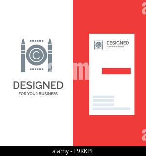 Business, Conflict, Copyright, Digital Grey Logo Design and Business Card Template - Stock Photo
