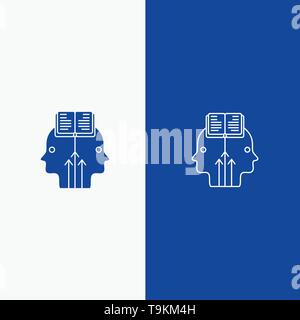 Mind, Reading, Programming, Man Line and Glyph Solid icon Blue banner Line and Glyph Solid icon Blue banner - Stock Photo