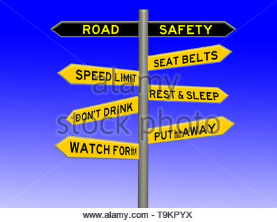 Road safety concept 3d sign on a signpost against a blue white gradient background - Stock Photo