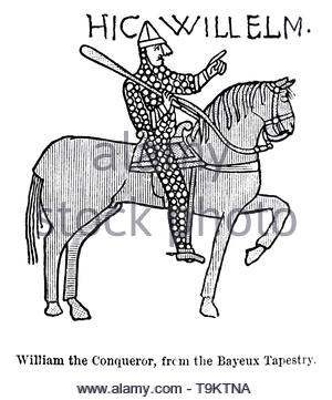 William the Conqueror, 1028 – 1087, first Norman King of England, from the Bayeux Tapestry, vintage illustration from 1884 - Stock Photo