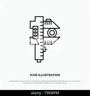 Measuring, Accuracy, Measure, Small, Tiny Line Icon Vector - Stock Photo