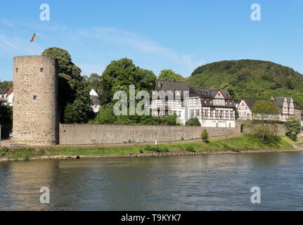 Riverside village of Rhens on the Rhine river in Germany - Stock Photo
