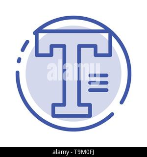 Type, Text, Write, Word Blue Dotted Line Line Icon - Stock Photo